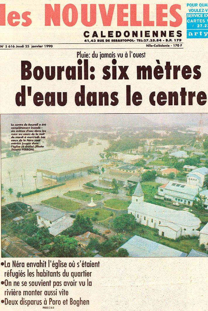 Du 21 au 24 janvier 1990, des pluies diluviennes se sont abattues dans le pays, en particulier au centre de la Grande Terre. Archives LNC