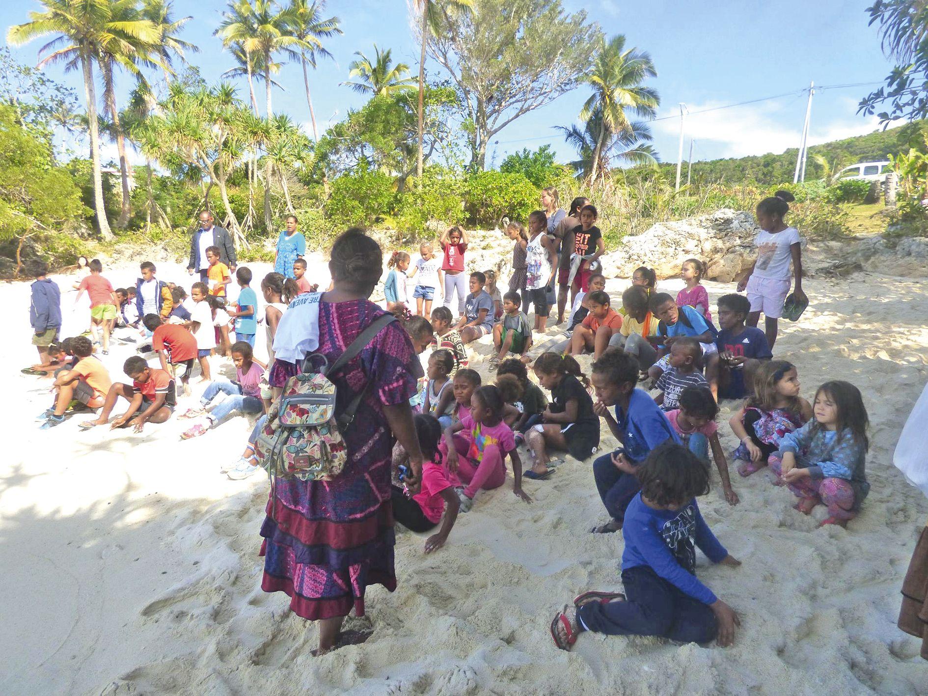 Les élèves ont occupé la plage pour être aux premières loges lors du lâcher de Lifou Turtle.
