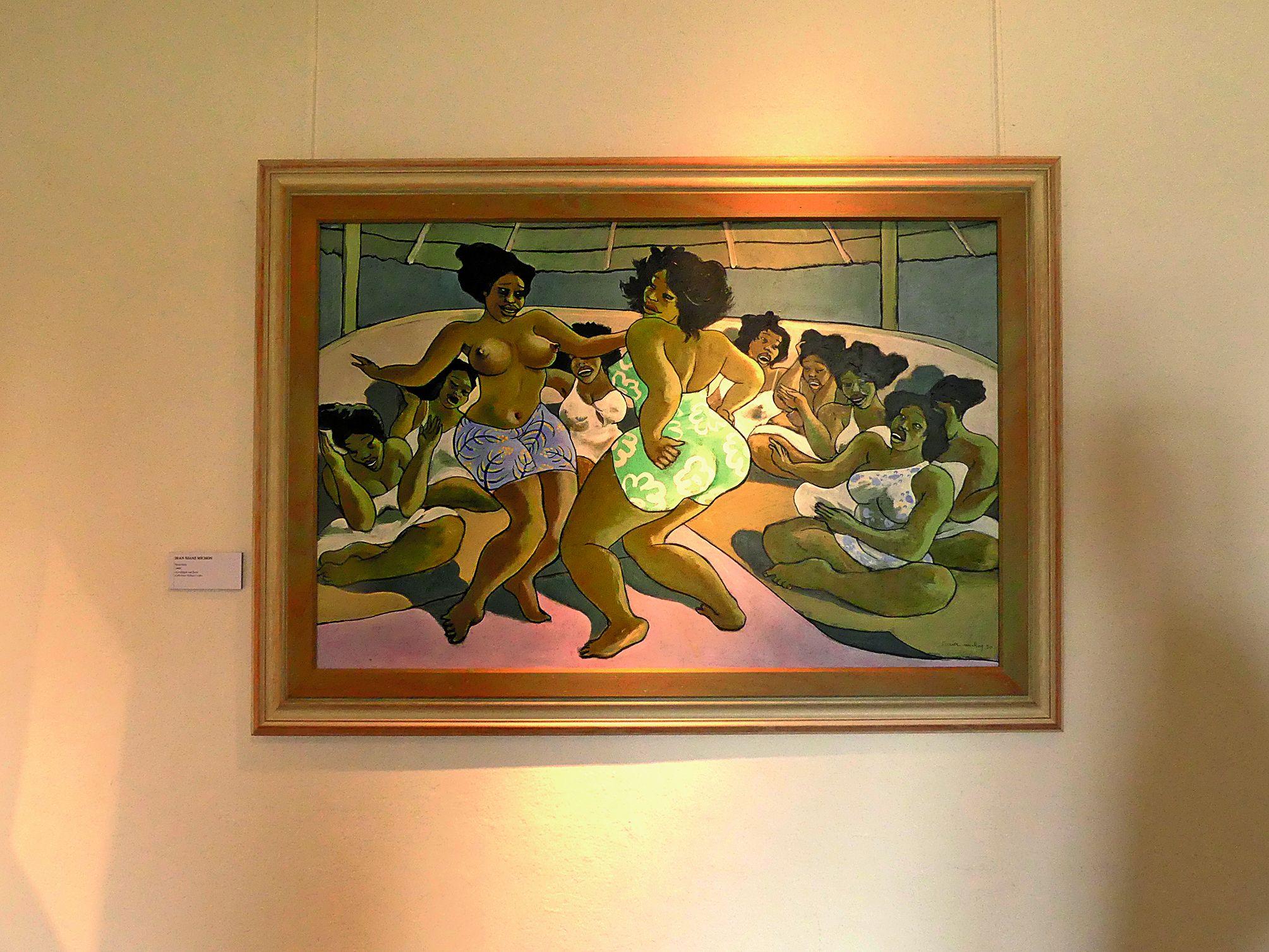 Plusieurs tableaux de Jean Soane Michon, dont cet acrylique en bois de 1990, représentant des scènes de vie.