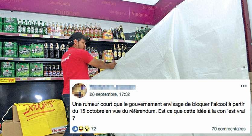 La rumeur d'un arrêt de la vente d'alcool à partir de la mi-octobre s'est répandue sur les réseaux sociaux. Photo LNC et capture écran Facebook