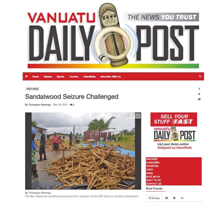 Le Vanuatu Daily Post s'est attardé samedi, tout comme le Vanuatu Digest avant-hier, sur la saisie des conteneurs. « Belair Farm a reçu l\'approbation du ministère de la Biosécurité pour importer les 68 tonnes de bois de santal de l\'exportateur de Nouvel
