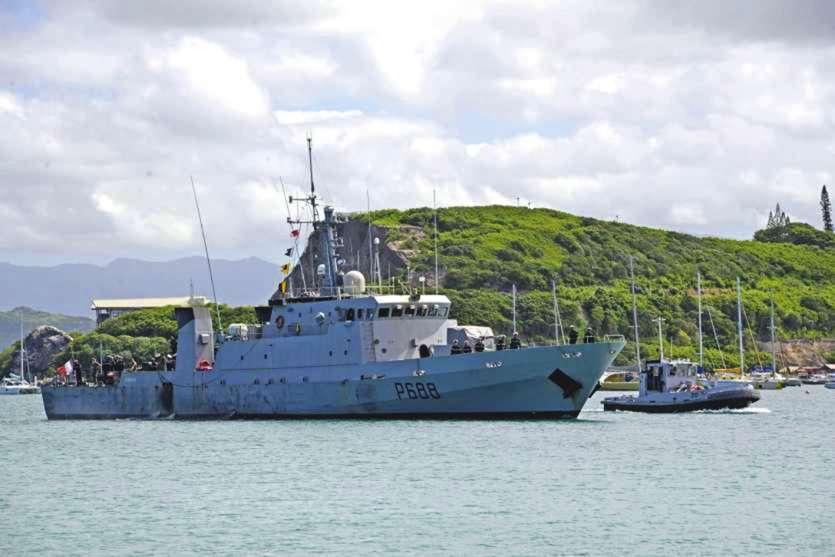 La Moqueuse, fin mars 2016, de retour de mission à Fidji, durement touché par le cyclone Winston. Ph. Archives LNC