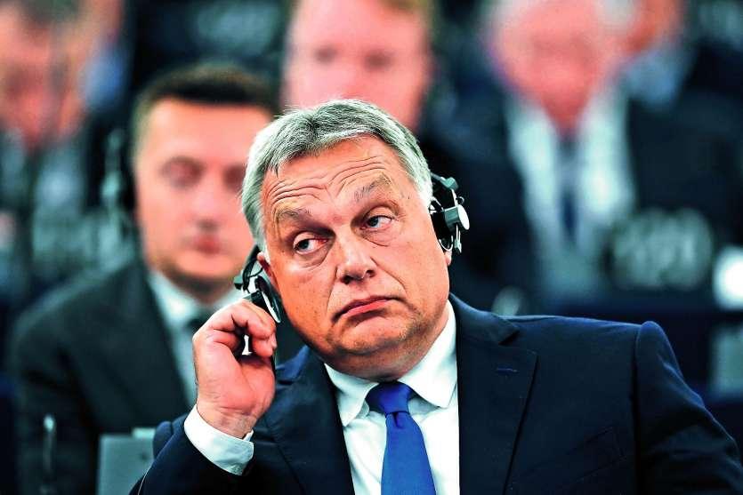 Viktor Orban, le Premier ministre hongrois, n'a pas tenté de convaincre son auditoire. Photo AFP