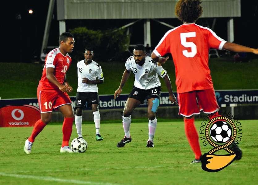 Kayara (à gauche) a marqué le seul but calédonien hier à Fidji. Photo Fiji Football association