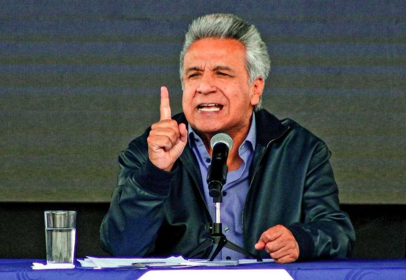 Le président équatorien Lenin Moreno avait fait retirer la citoyenneté équatorienne accordée à Assange, avant son arrestation à Londres. Photo AFP