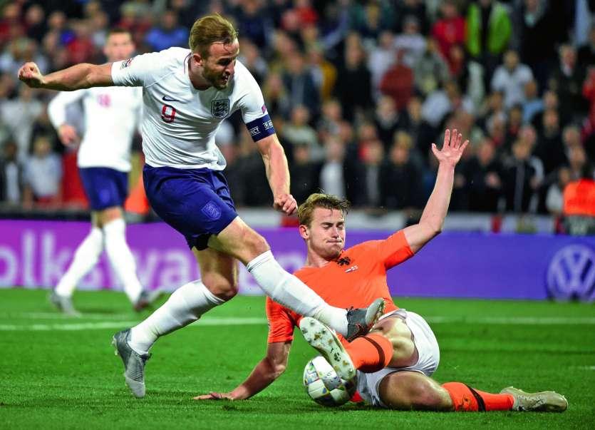 Matthijs de Ligt tacle Harry Kane : le Néerlandais a alterné excellence et maladresse. Photo AFP