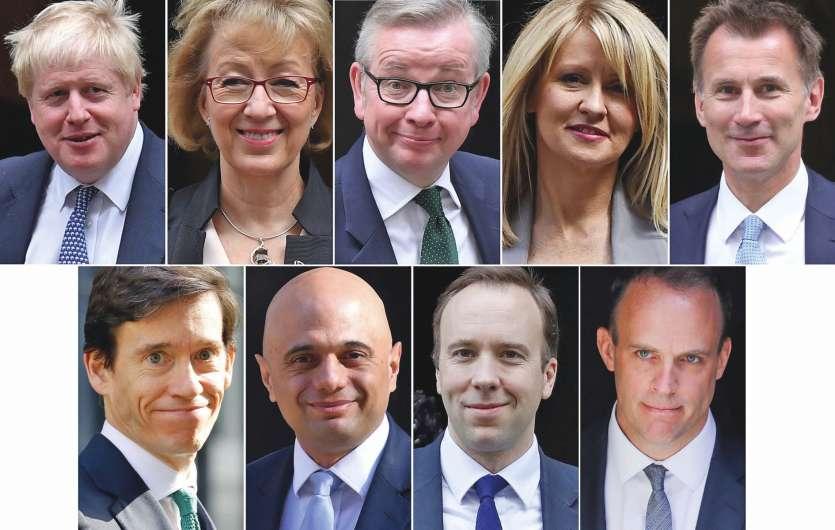 Les neuf prétendants à la succession de Theresa May. Certains ont attaqué le favori, Boris Johnson, et son « bluff » sur le Brexit, pendant qu'un autre voyait sa campagne plombée par ses aveux sur sa consommation de cocaïne.Photo afp