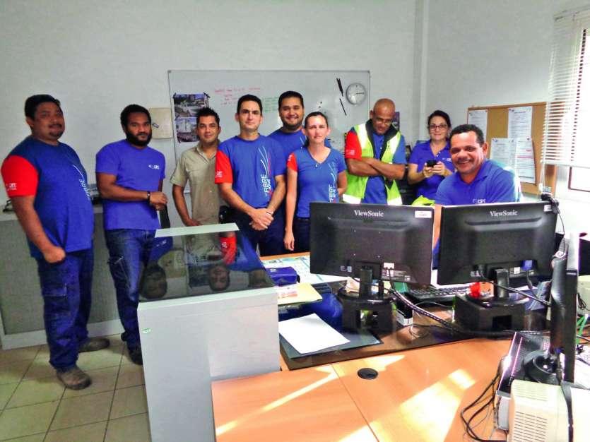 A l'unité de service (US) OPT de la zone artisanale de La Foa, les agents sont fiers du travail réalisé.Photos E.J.