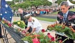 270 jeunes Calédoniens, du primaire au lycée, ont assisté à cette cérémonie, hier matin. . Photo FANC