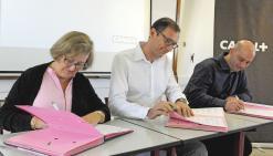 Jennifer Seagoe, présidente de la CCI, Frédéric Brochard, directeur général de Canal+ et David Guénant, vice- président de l'association des parrains.