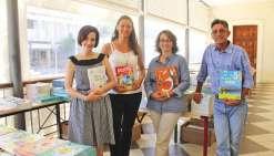 Nouméa, le 13 septembre. Ils sont quatre à représenter tous les éditeurs nationaux auprès des enseignants sur le salon.