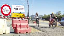 La piste cyclable de Sainte-Marie déviée à hauteur du parc des 5 îles
