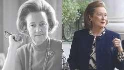 Pentagon Papers raconte l'histoire de Katharine Graham (Meryl Streep), première femme directrice de la publication d'un grand journal américain. A gauche, la véritable Katharine Graham, décédée en 2001.