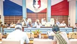 La séance du Congrès a été suspendue à plusieurs reprises, hier, pour l'examen de différents amendements.
