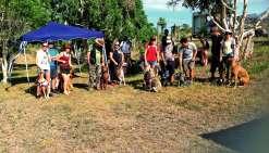Les chiens et leurs maîtres se sont rassemblés au parking du sentier « Les origines au Lagon ». Photo N.B.
