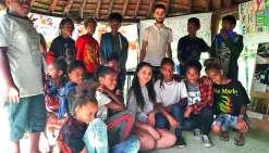 Elèves géorgiens et élèves de Canala ont beaucoup échangé lors de cette semaine de rencontre. Le court séjour des visiteurs s'est achevé, dimanche, à Nouméa. Photo I.P.
