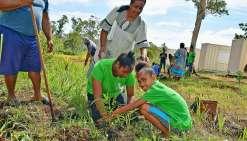 Jusqu'au dernier moment, les élèves et les parents ont travaillé ensemble, lors d'une plantation samedi.Photos F.D.