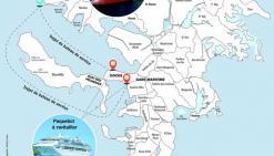 Le bateau de service (2 000 à 3 000 tonnes) assurerait les trajets entre le tanker de stockage (45 000 tonnes) et les paquebots à ravitailler.