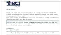 De faux mails de la BCI envoyés