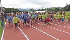 Les écoliers de primaire à fond  pour le cross de l'Usep