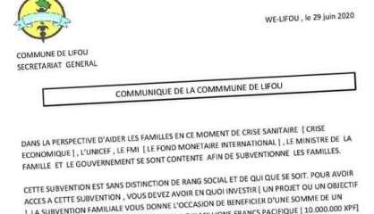 Attention au faux communiqué du maire de Lifou, c'est une arnaque