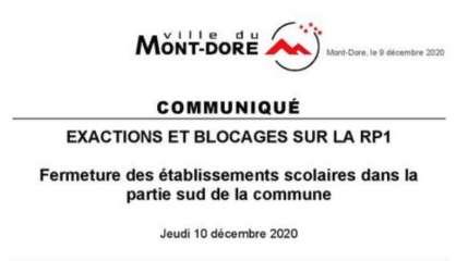 Au Mont-Dore, les écoles situées dans le sud de la commune seront fermées demain