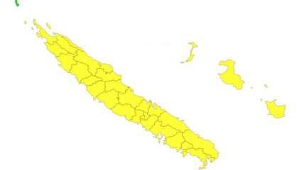 Tout le pays (sauf Bélep) en vigilance jaune fortes pluies/orages