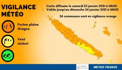 [MÀJ] Vigilance orange fortes pluies/orages sur tout le pays (sauf l'île des Pins et de Nouméa à Moindou)