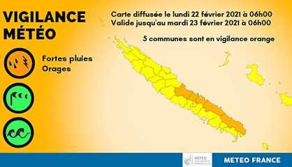Cinq communes de la côte Est placées en vigilance orange