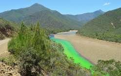 D'abord à l'état de poudre, la substance chimique se transforme en un liquide vert fluo au contact de l'eau.
