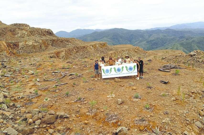 Des membres des associations environnementales Caledoclean et Male'va, Reine Porudeu, du gîte de Porin-Néa, Laurent et Marco, de la tribu de Nétéa, et des bonnes volontés, se sont donné la main tout le week-end pour reboiser le site.