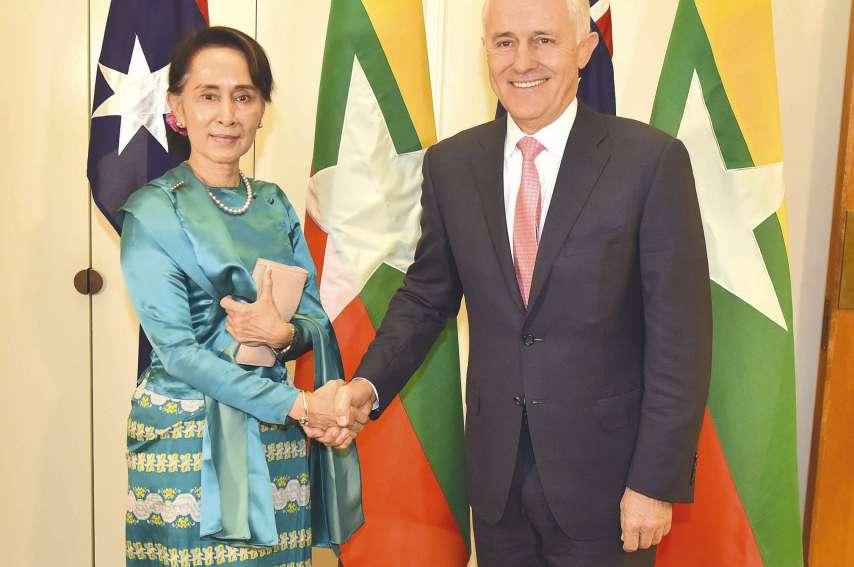 Le Premier ministre australien, Malcolm Turnbull, a reçu la dirigeante birmane, Aung San Suu Kyi, dans le cadre du sommet Australie-Association des nations d'Asie du Sud-Est.