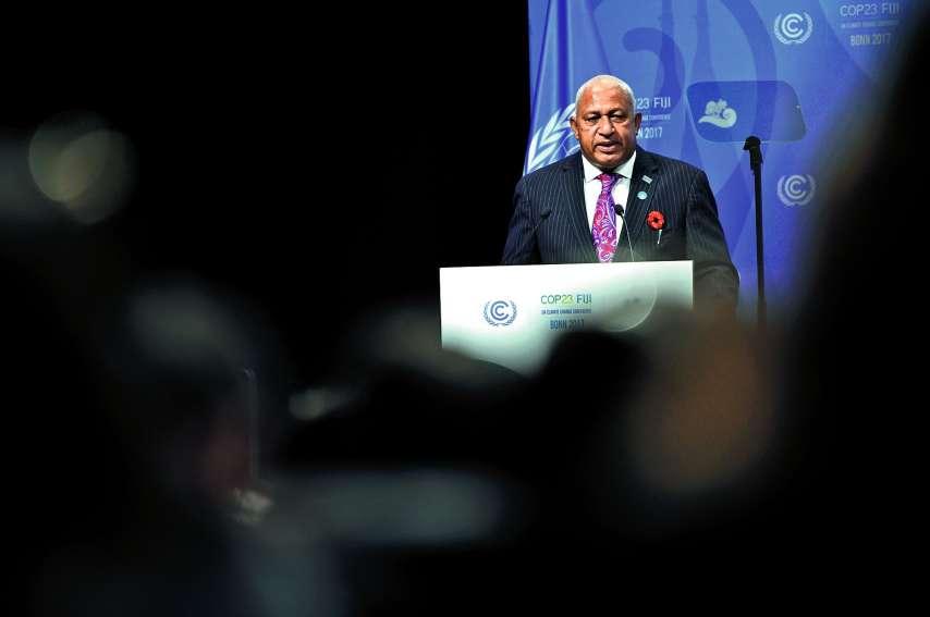 Frank Bainimarama, le 6 novembre 2017, lors de l'ouverture de la COP23, présidée par Fidji.Photo AFP