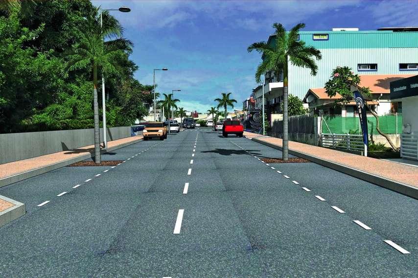 La chaussée et les trottoirs vont élargis, afin de permettre une meilleure accessibilité aux personnes à mobilité réduite. Projection mairie de Nouméa