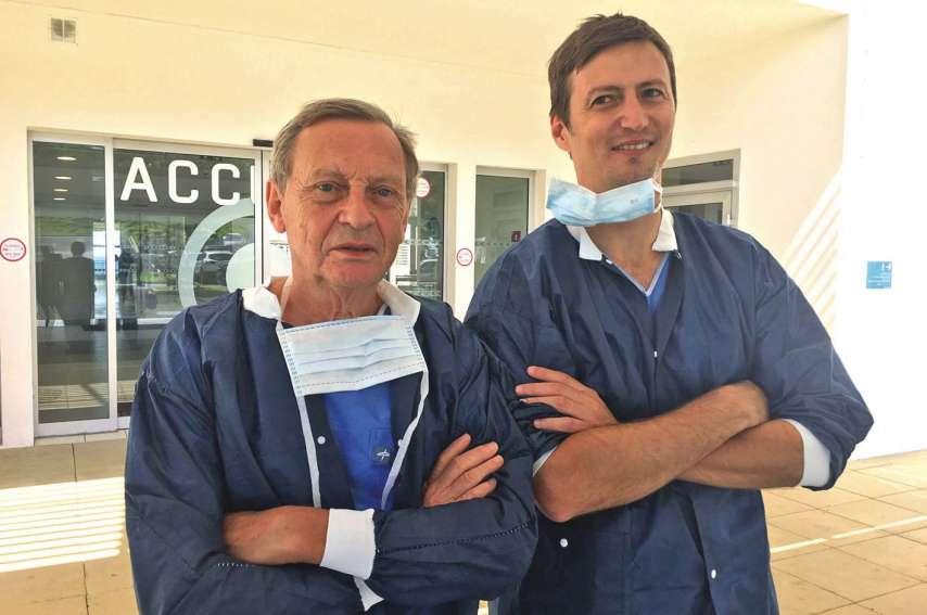 Le professeur Pierre Honoré du CHU de Liège (à gauche) et le dr Vivien Latrasse de la clinique Kuindo-Magnin estiment à 80 par an le nombre de chirurgies de cancer du foie pratiquées en Calédonie.Photo M.C.