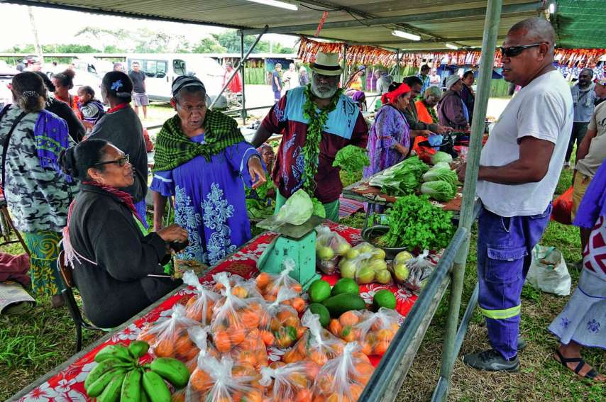 Dès l'ouverture du marché vendredi, les visiteurs présents à la Fête de ura (source, en nengoné) ont pu se fournir en produits locaux, mandarines, avocats, ignames, choux et bananes.