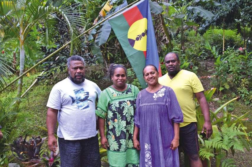 Julien Holéro, Karmen Holéro, Ginette Hanou et Tony Kawa, élus de la liste Sarraméa Kanaky. Photo F.D.