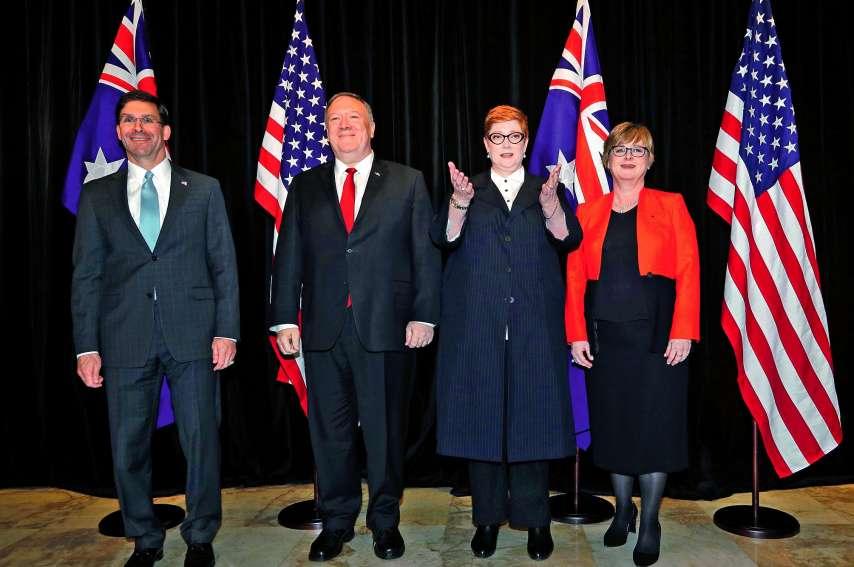 Le secrétaire américain à la Défense Mark Esper, le secrétaire d\'Etat américain Mike Pompeo et leurs homologues australiens Linda Reynolds et Marise Payne devaient participer hier à une réunion de travail à Sydney sur les politiques de défense dans la ré