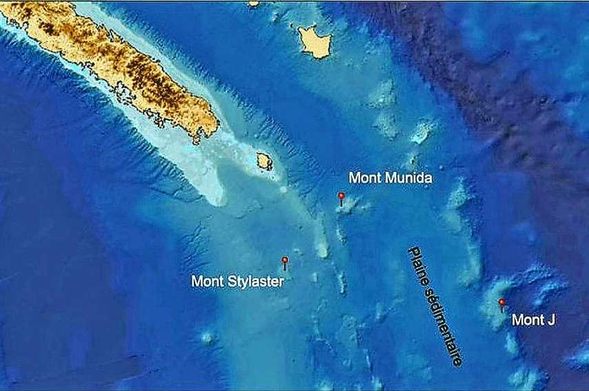 Les trois monts sous-marins qui seront explorés se situent au Sud de la Nouvelle-Calédonie.Photo Georep NC