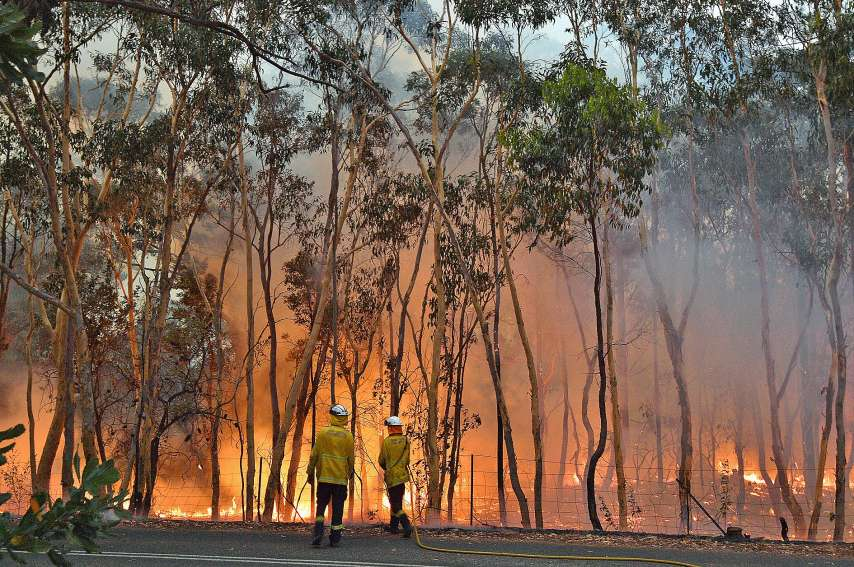 A une centaine de kilomètres au nord de la ville de Sydney, les pompiers luttent sans relâche.Photo AFP
