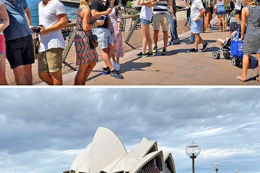 Les touristes ont presque déserté Sydney.En haut, une vue datant du 30 décembre 2017. En bas, une photo prise le 8 mars.Photos AFP