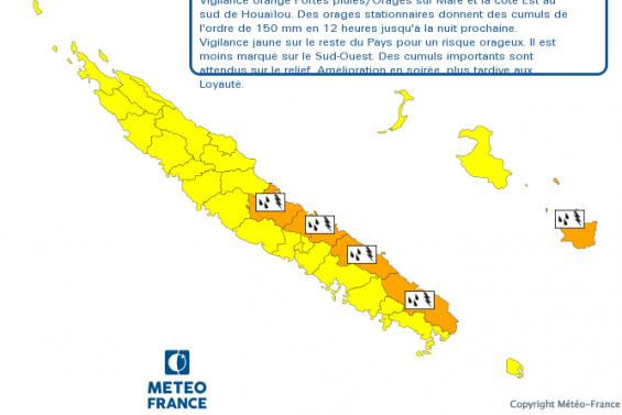 Une partie de la côte Est et Maré en alerte orange aux orages et fortes pluies