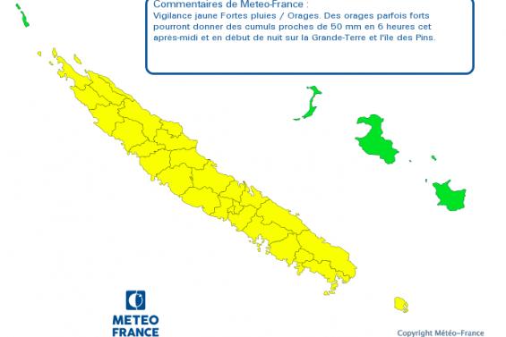 La Grande-Terre et l'île des Pins placées en alerte jaune « Fortes pluies/orages »
