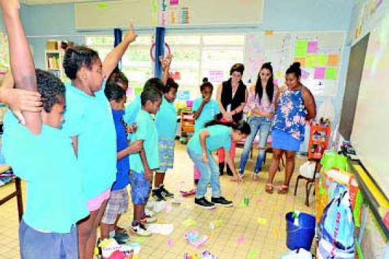 Les enfants sensibilisés  à leur environnement par des étudiantes
