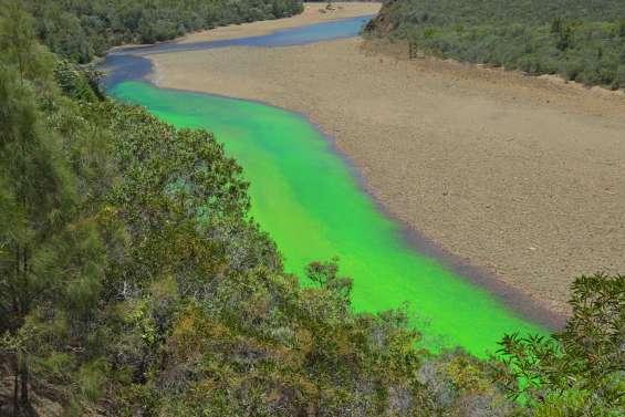 Païta : la rivière Tontouta colorée en vert fluo