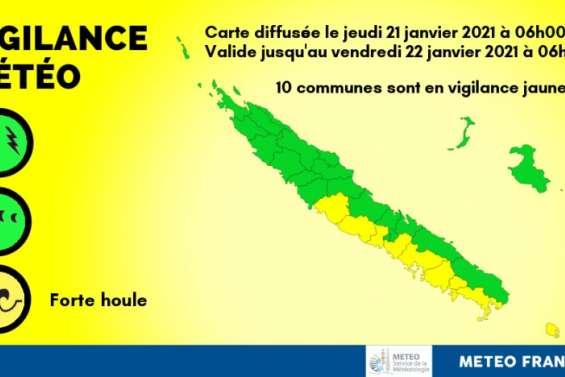 Le sud-ouest et l'île des Pins en vigilance jaune