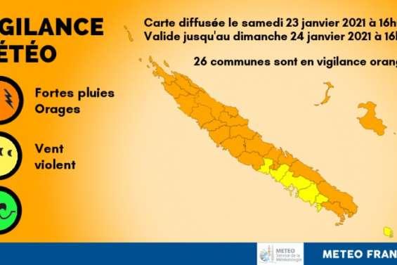 [MÀJ] Vigilance orange fortes pluies/orages sur tout le pays, sauf l'île des Pins et de Nouméa à Moindou
