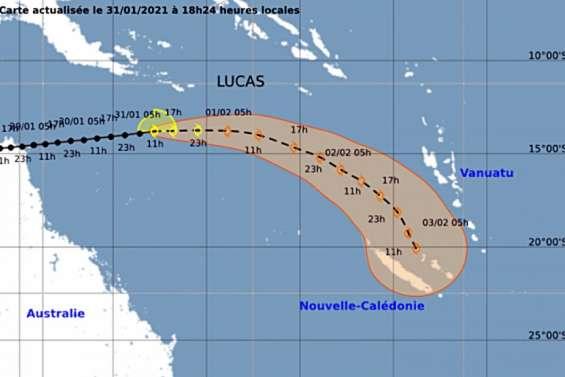 Dépression tropicale forte Lucas : la trajectoire se précise