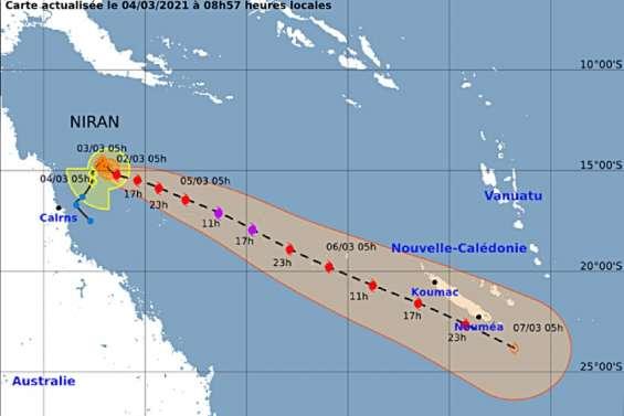 Niran: la Calédonie en alerte niveau 1 vendredi à 20heures