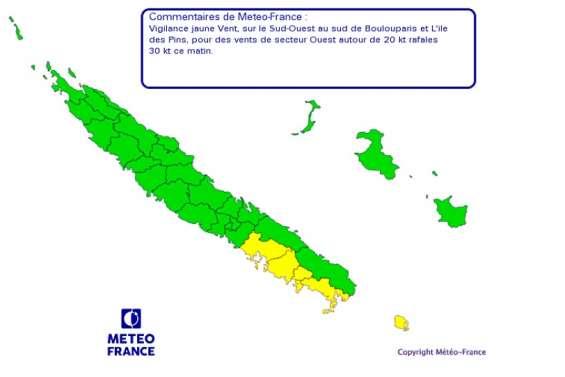 Six communes en vigilance jaune